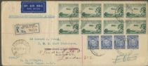 SG 115v ACSC 134 1929 3d Airmail with vertical mesh two blocks of 4 and strip of 4 3d (AG6/628)